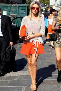 orange skirt + orange accessories