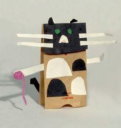 Cat puppet on paper bag: little ones!