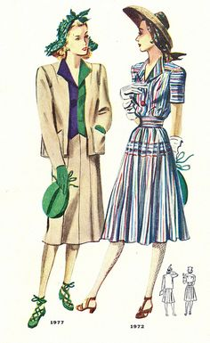 Two great multi-coloured spring/summer fashions from 1942. #vintage #dresses #suits #1940s vintage fashion style color photo print ad model magazine illustration color block suit jacket skirt tan navy blue green rainbow suit dress hat shoes purse 40s war era