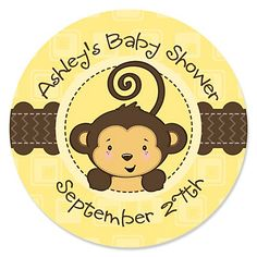 Monkey Neutral - Personalized Baby Shower Sticker Labels - 24 ct | BigDotOfHappiness.com