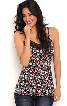 Deb Shops Poly lace trim navy floral print cami $9.75
