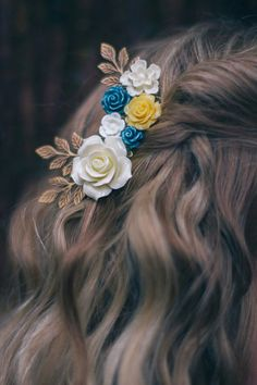 Rose Hair Comb, Cream Ivory Rose Comb, Wedding Hair Accessories, Yellow Flower Comb, Navy Blue Rose, Flowers For Hair, Bridal Hair Comb