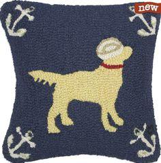 "Salty Dog Yellow 18"" Hook Pillow"