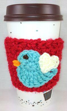 Blue Bird Red Crochet Coffee Cozy