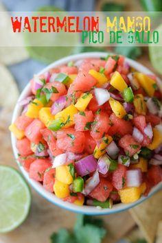Watermelon Pico de Gallo - Oh-so-refreshing watermelon pico de gallo with sweet mango chunks!