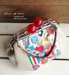 Red colorful vintage feedsack & pearl leather candy by SoundOfHome, $65.00