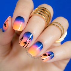 Epic Sunset beach nails || 5 cool beach nails you have't seen before: http://sonailicious.com/5-beach-nails/