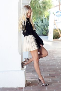 shea marie cheyenne meets chanel blogger blog fashion style california leather skirt balenciaga schutz miss9