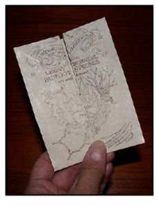 """A printable Marauders' Map! Doesn't have all the flaps of the """"real"""" map, and it's not as big, but still a great copy to slip into your Hogwarts robe pocket."""
