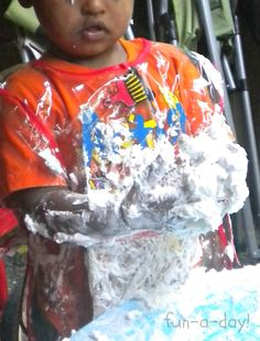 Messy Play Fun (with shaving cream, cornstarch, and water)