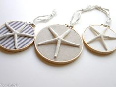 Starfish in Embroidery Hoops