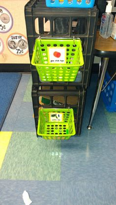 Use rings to attach small baskets to crates! LOVE this!
