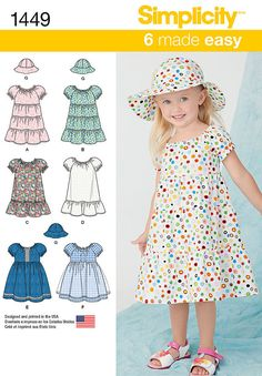 Toddlers' Dress and Hat in Three Sizes Simplicity Pattern 1449