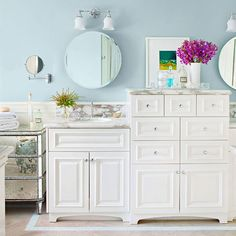 Stacked drawers add smart storage to this cottage-style bath. More ideas for bathroom decor: http://www.bhg.com/decorating/decorating-photos/bathroom/?socsrc=bhgpin042913stackstorage