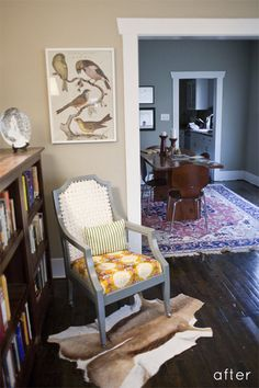 Lots to like in this photo, but particularly the floor stain color, wall color in dining room, and carpet.