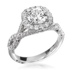 Tacori - Petite Crescent Collection Platinum Diamond Cushion Halo Twist Setting (Available at Michael C. Fina)