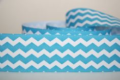 "1.5"" Turquoise and White Chevron Zig Zag Stripes Grosgrain Ribbon 4 yards. $5.00, via Etsy."