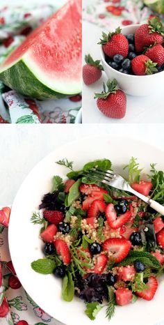 Quinoa salad with blueberries, strawberries and mint. Gluten-free and vegan @ Gluten-Free Goddess®.
