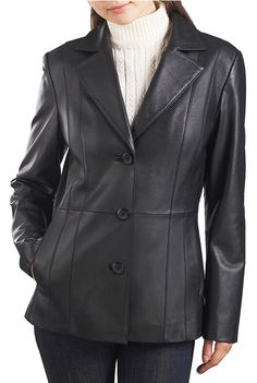Look sleek and fashionable in this black BGSD Women's Classic Lambskin #Leather Blazer.  This leather #jacket is accented with a vertical seamed front for that slimming tailored look.  $169.99  http://www.luxurylane.com/421-175539-blk.html