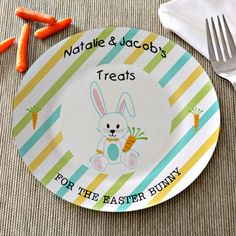 Treats For The Easter Bunny Personalized Plate #Easter #Easterbunny