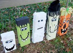 halloween, 2xx4, wood, home decor, frankenstein, witch, pumpkin, mummy, ghost, painted, tole painting, autumn, fall, creeps, diy, home decor, handmade
