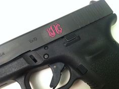 Perfect for my Glock! --- Gun Monogrammed Decal  Extra Small by AbigailLeeHome on Etsy, $6.25 fun gun, monogram decal, monogrammed gun, glock guns, gun monogram, monogrammed decals, monogram gun, small guns