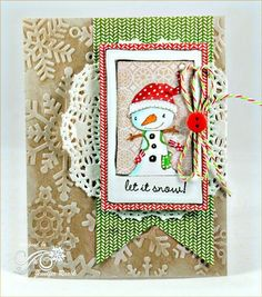 cute Snowman card by Jen Roach.  Stacey Yacula Studio stamps from Purple Onion Designs.