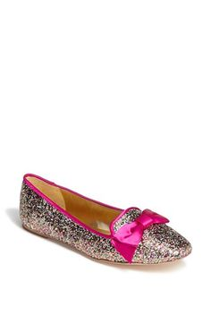 Kate Spade glitter loafers with bows