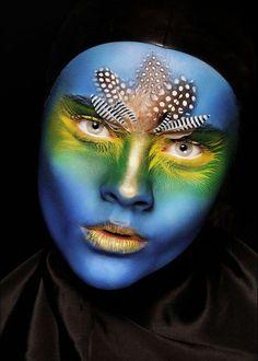 blue face paint, bodi art, exotic makeup, facepaint, feathers, birds, bodi paint, face makeup art, eye
