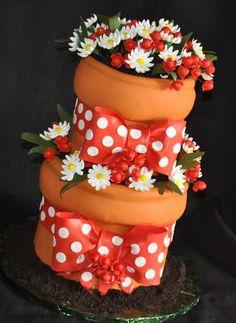 flower pot cake White Flowers, Pot Cake, Cheer Flower, Flower Pots, Cake Central