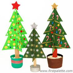 cute Christmas tree craft/decoration - great for kids to make (and use other shapes for other holidays)