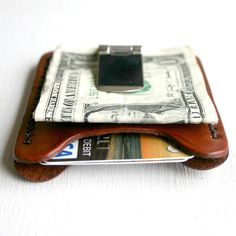 Flip Clip. Men's leather wallet credit card by FatCatLeather, $35.00