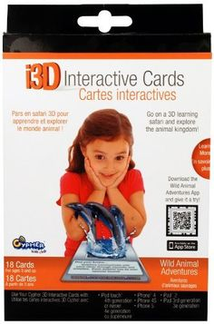 i3D Interactive Cards- Animals by Cypher Entertainment. $24.40. Play, learn and experience the magic of Augmented Reality with Cypher Kids. Download the Animals App. The camera on your device reads your card's special 3D marker. Each Card is packed with fun facts, silly sounds and cool characters.. Designed for Children Ages 3 and Up. From the Manufacturer                Cypher's Live 3D Interactive Cards use AR technology to make learning fun by bringing to life Wild Anima...