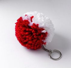 Red and White Pom Pom Keychain