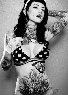 i spy hello kitty brighton, ear, butterflies, neck tattoos, color, ink girl, hello kitty, tattoo ink, tattoo models