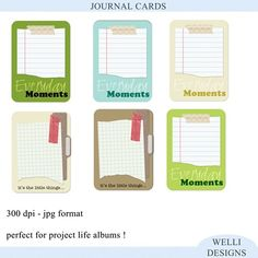 free Journal Cards - good for project life