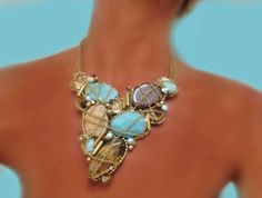 Bib NecklaceStatement Bib Necklace with Turquoise by SharonaNissan, $495.00
