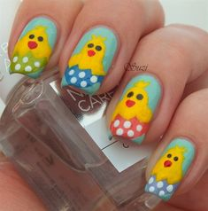 Beauty by Suzi shared these adorable Easter chick nails