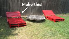 pallet lounger.  clever. Make cushions to top them. I would fall asleep outside every day!