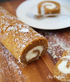 This pumpkin roll is easy to make and is very very good.  Perfect Fall recipe! www.skiptomylou.org #recipes #pumpkinrecipes #fallrecipes