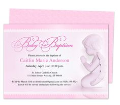 Baby Girl Baptism/Christening Invitations: Printable DIY Angela Baby Baptism Invitation Template