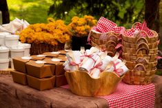 grab and go picnic for outdoor movie party. Love the idea of loading the food into their own baskets.