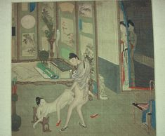Leaf from an album: an eighteenth-century work by aq follower of Gu Jianlong. The females who look in from the doorway, one from behind a split-bamboo blind. Both raise their sleeved hands to their faces, expressing the same ambivalent feeling. We might suppose that the artist included two young women here because the central scene involves possibly one or two males.