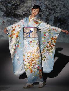 """Kimono"""" literally means a """"thing to wear."""" The traditional robe-like gown is worn by men, women and children. The kimono is always wrapped left side over the right, except when dressing the deceased.  Beautiful furisode."""