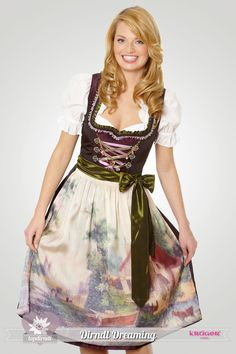 What an immensely pretty colour palette and painting inspired apron. #dirndl #German #Austrian #traditional #folk #costume #dress #tracht