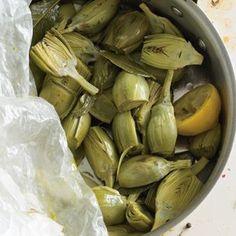 Artichokes Stewed with Lemon and Garlic