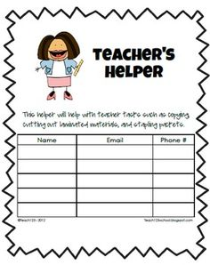 FREE - Are you feeling overwhelmed? Too much to do and not enough time to do it? Let your parents help you. This packet gives you ideas for parent helpers.