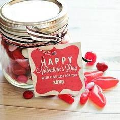 "Free Printable Valentine Tag: ""Happy Valentine's Day, with love just for you."" 