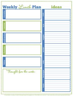 Weekly Lunch Plan - Free Printable - Clean Mama week lunch, lunch plan, planner, kid, back to school