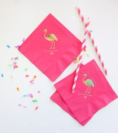 The Summer Collection: Flamingo Cocktail Napkins--gold foiled & hot pink perfection! #ABDBlockParty